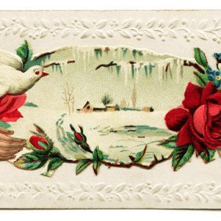 free clip art Victorian calling card hand rose dove winter