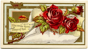 Victorian calling card, vintage ephemera, free vintage card, old fashioned visiting card, red roses illustration