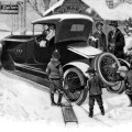 antique car graphics, free black and white clip art, old magazine ad, vintage transportation clip art, fisk tires winter scene