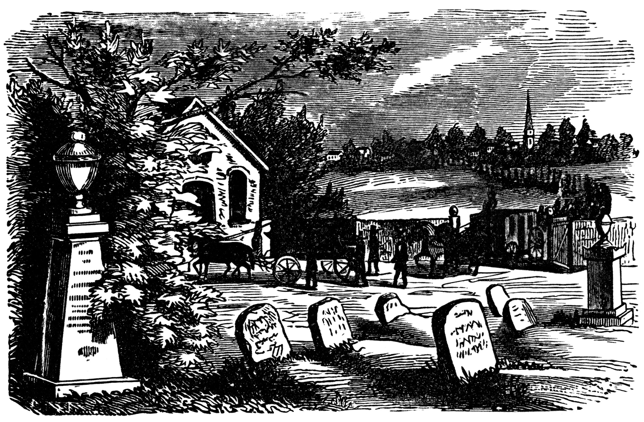 vintage Halloween clip art, black and white clipart, tombstone graphics, Victorian graveyard scene, headstone grave illustration