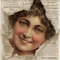 Victorian trading card, hoods sarsaparilla, free vintage ephemera, old advertising card, face in newspaper sarsaparilla ad