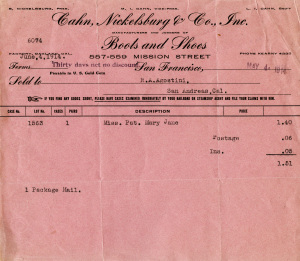 free vintage digital pink invoice for shoes and boots
