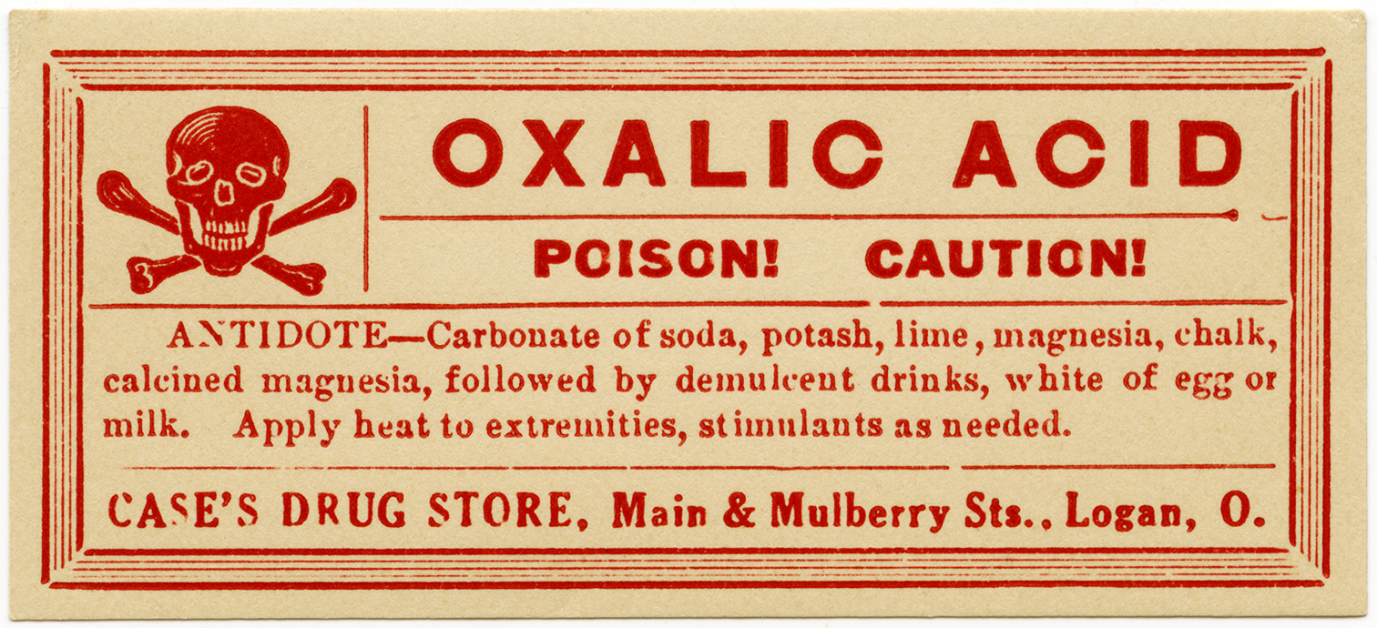case drug store, vintage poison label, Halloween clip art, vintage druggist pharmacy label, oxalic acid poison, skull cross bones clipart