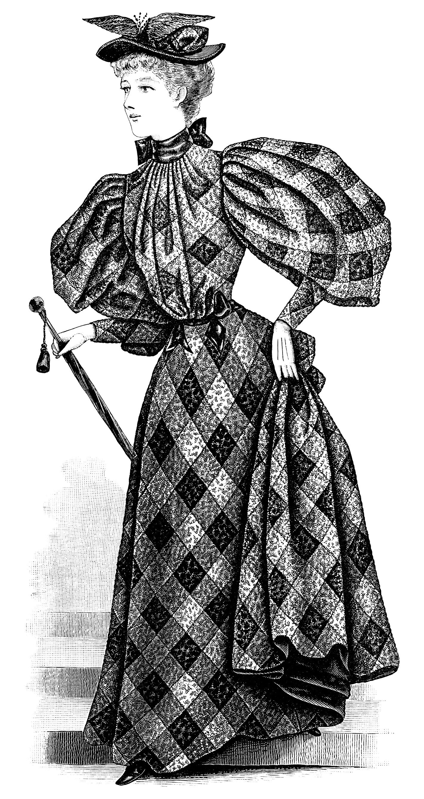 Victorian lady clip art, ladies afternoon toilette, black and white illustration, vintage woman clipart, Victorian fashion image, antique clothing graphics