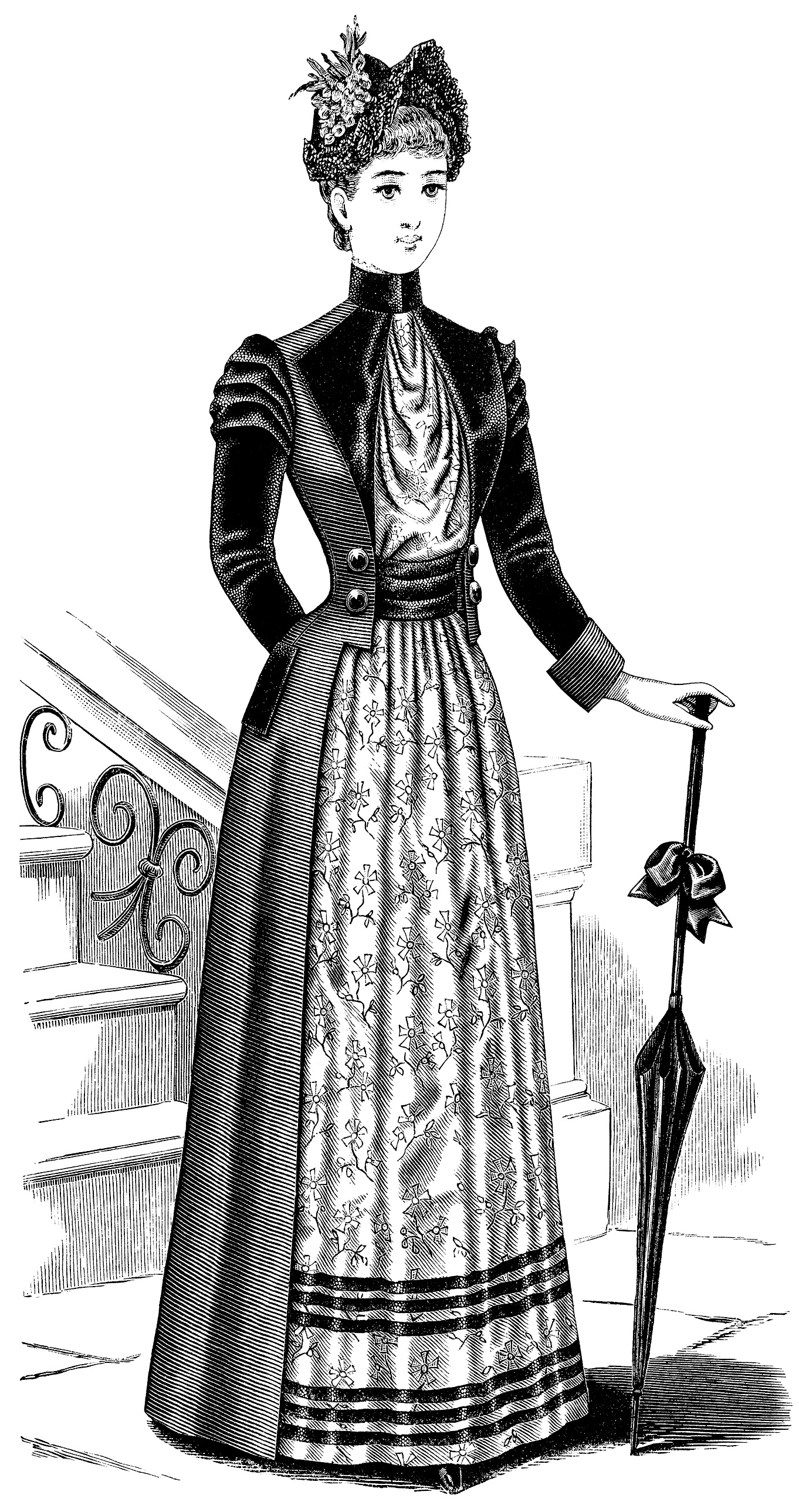 Victorian lady, black and white clip art, Victorian fashion image, ladies toilette, vintage fashion illustration
