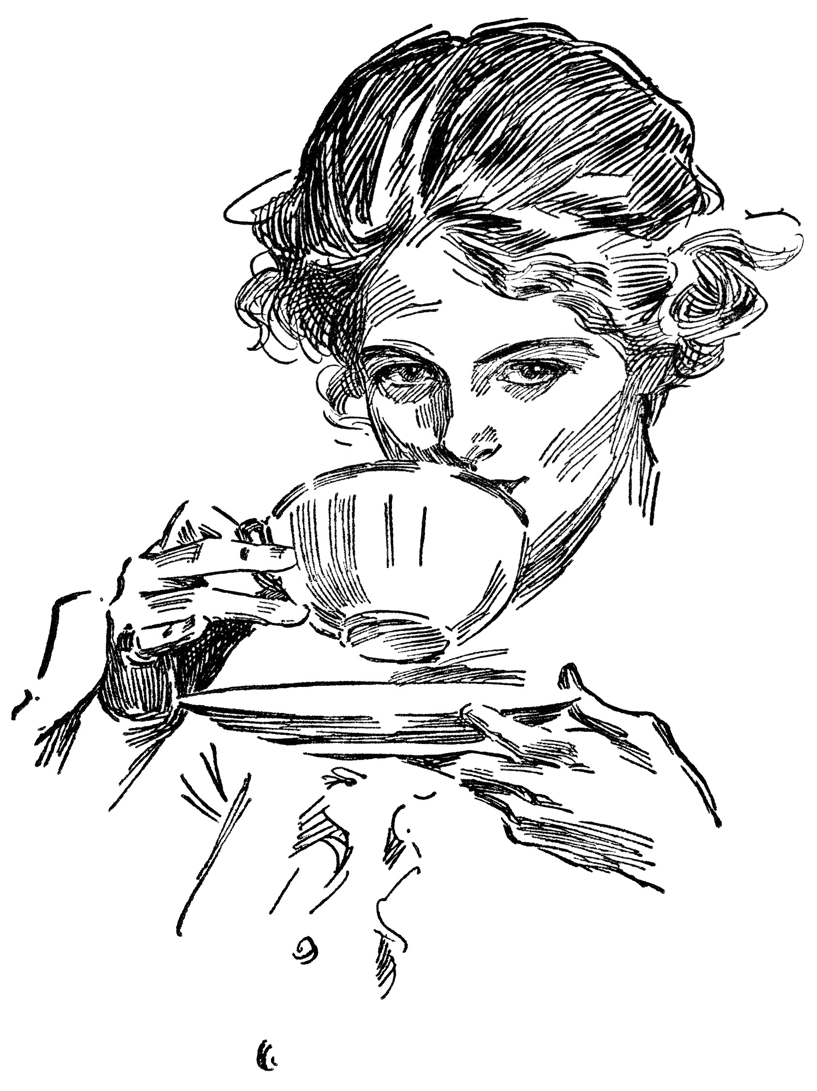 lady drinking tea, tea time graphics, vintage lady clip art, black and white clipart, Harrison Fisher sketch