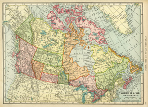 Canadian map, vintage map download, antique map Canada, C. S. Hammond, history geography Canada