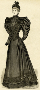 Victorian lady clip art, antique mourning dress, black and white illustration, vintage lady in black dress clipart, Victorian fashion image