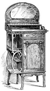 Victorian furniture illustration, black and white graphics, vintage furniture clipart, music cabinet clip art, antique furniture engraving