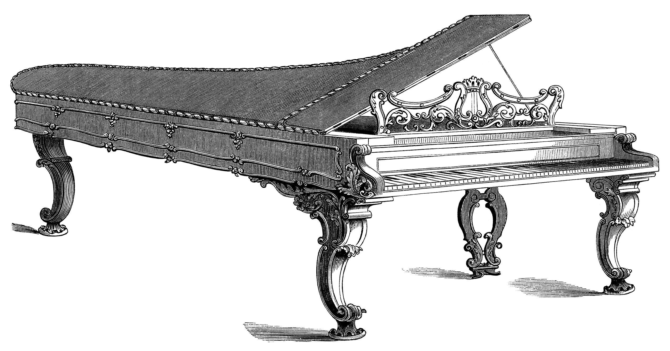 Victorian piano illustration, piano forte engraving, black and white graphics, vintage piano clipart, antique chickering piano