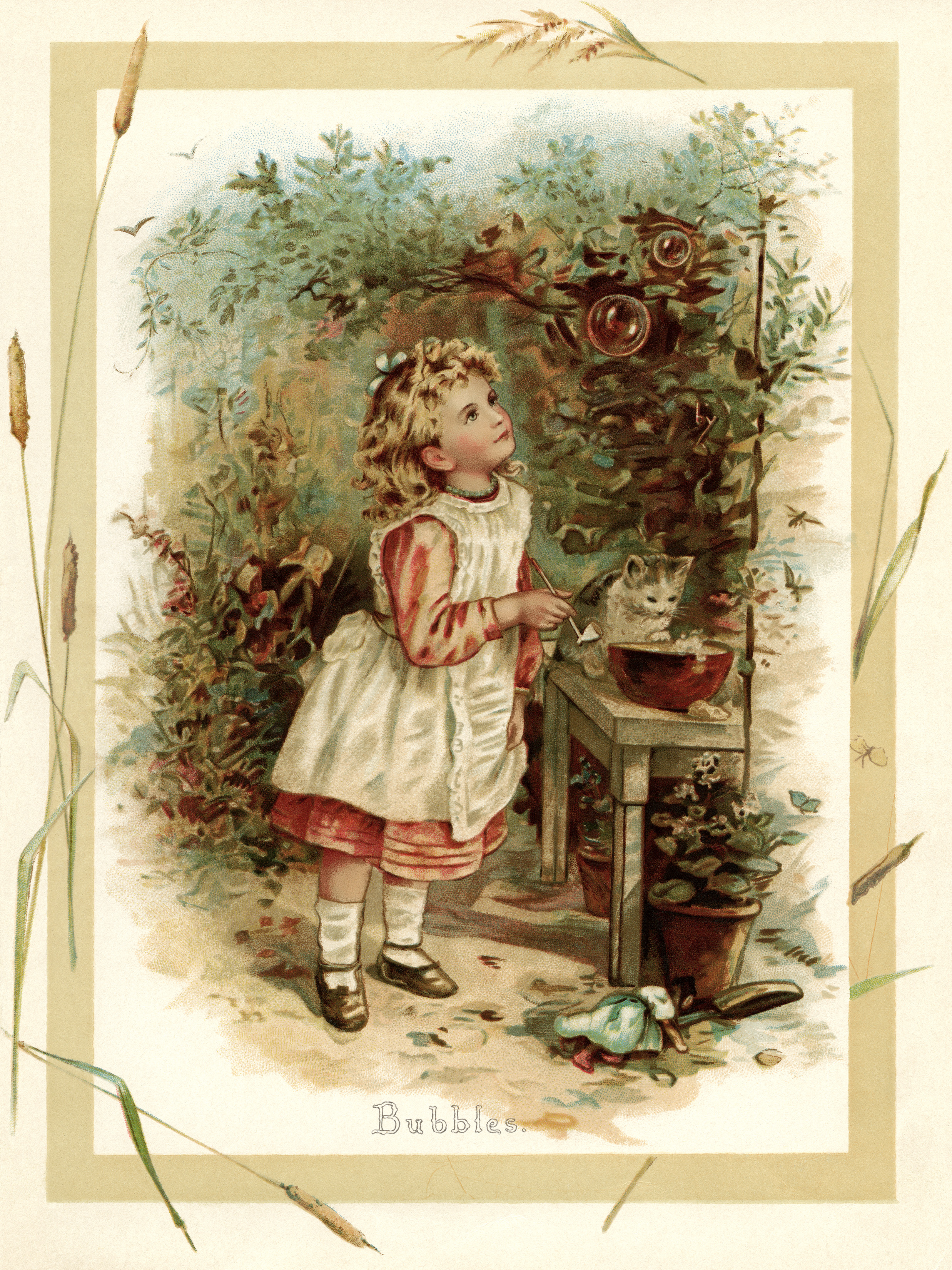 vintage storybook illustration, Victorian girl blowing bubbles, sunbeams and me, girl and kitten printable, bubble blowing fun