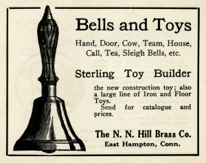 antique hand bell clipart, free black and white clip art, N. N. Hill Brass Co, old magazine ad, vintage bell illustration, music bell graphic