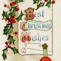 printable Christmas graphic, old Christmas postcard, holly berries illustration, free vintage Christmas clipart