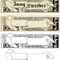 vintage Christmas frame, holly berries frame, black and white graphics, vintage frame clip art, scroll banner illustration
