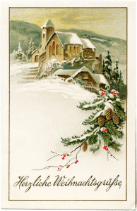 German Christmas postcard, vintage Christmas clip art, snowy winter country scene, old fashioned Christmas card, snow covered church illustration