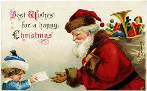 Clapsaddle Christmas postcard, vintage Christmas clip art, antique santa illustration, child handing letter to Santa, old fashioned Christmas graphic
