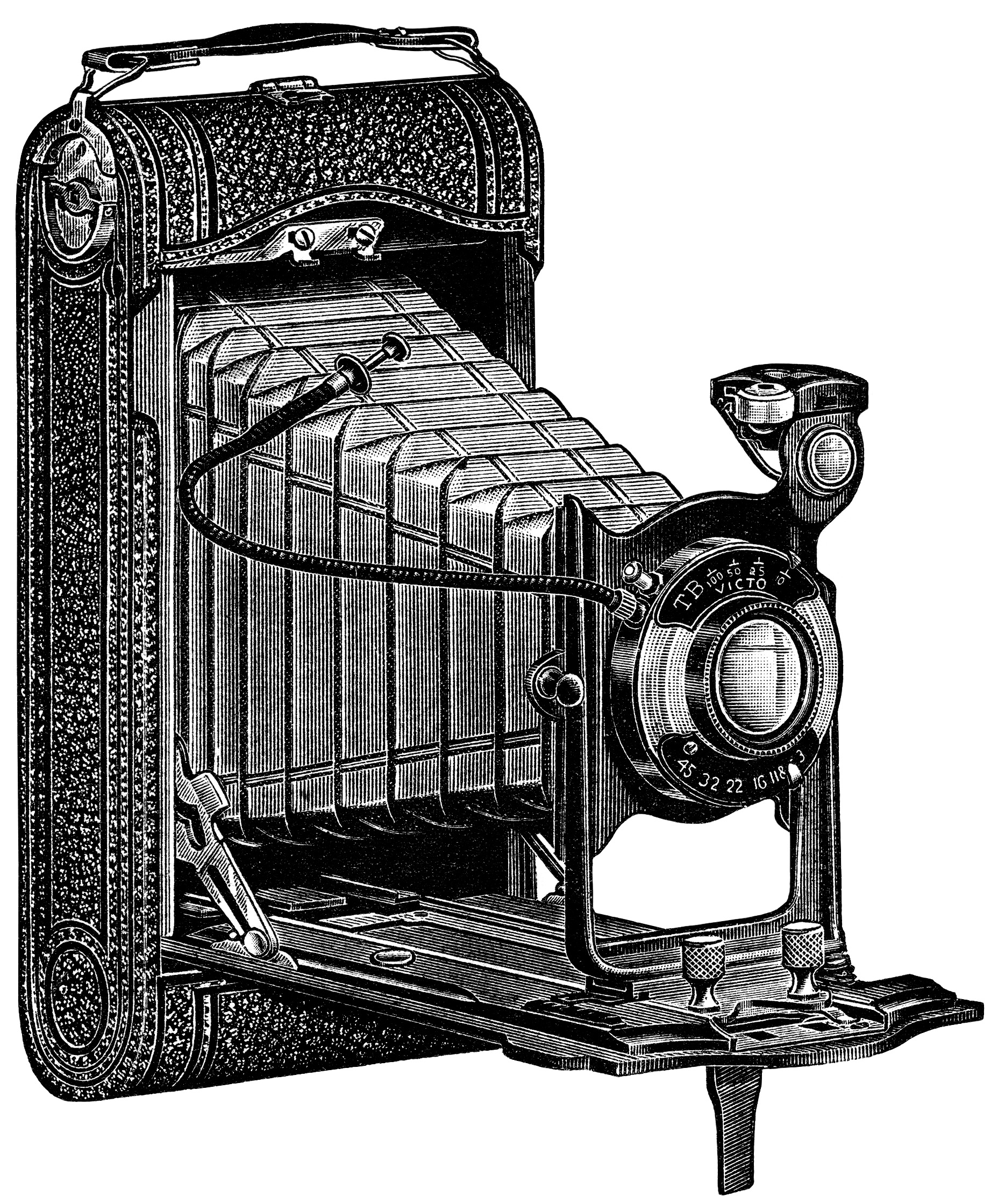 Aged Paper Ephemera Old Catalogue Page Black And White Clipart Antique Camera Illustration