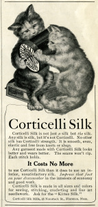 Free vintage clip art Corticelli Silk kittens thread magazine advertisement