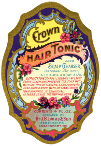 J.B. Lynas & Son, Crown tonic label, vintage beauty label graphic, free printable label, antique hair care illustration