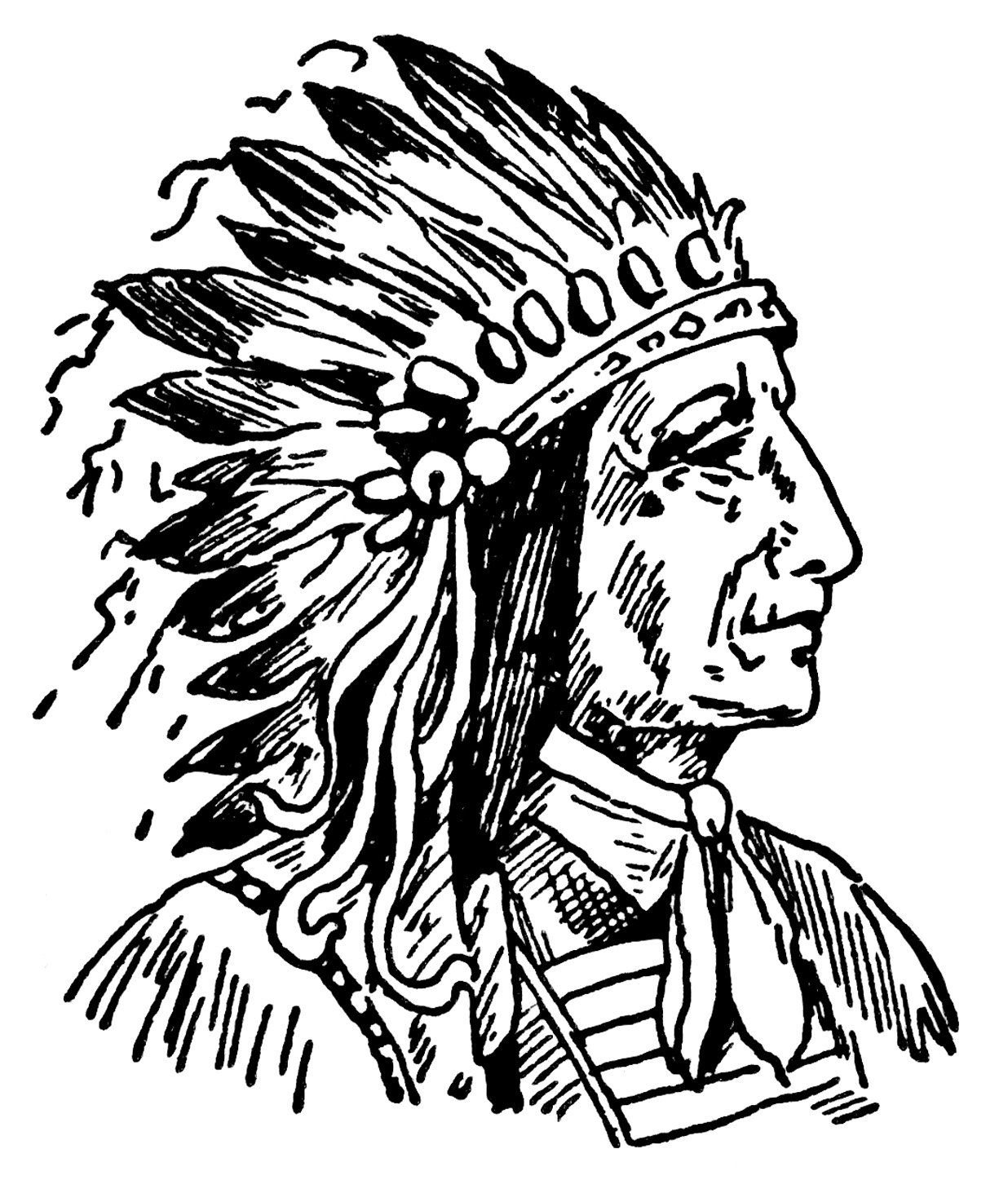 Indian Chief ~ Free Vintage Clip Art