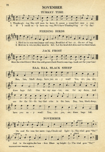 vintage sheet music, songs for November, kindergarten music, simple songs for children, old book page