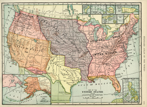 United States map, vintage map download, antique map, history geography USA, acquisition of territory US