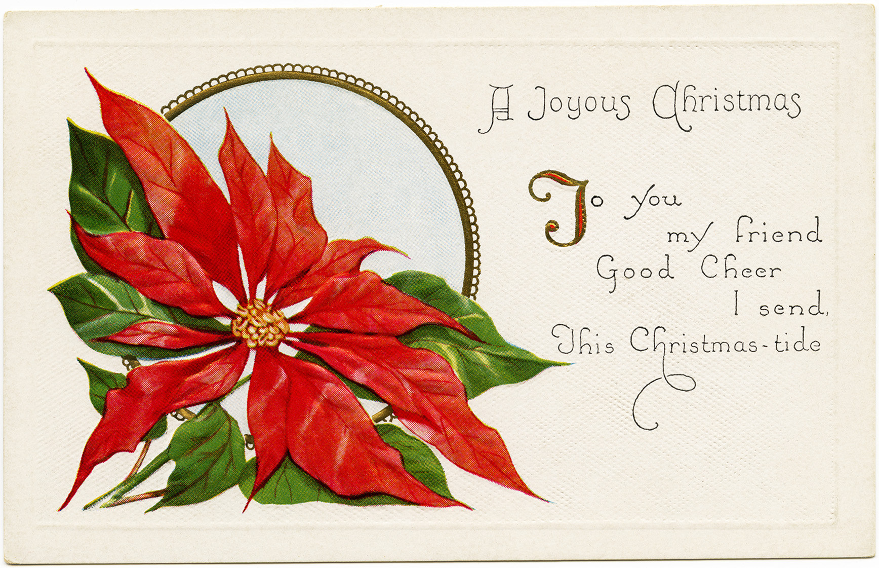 Christmas vintage postcard, poinsettia illustration, old fashioned Christmas card, free holiday graphic, Victorian Christmas clip art