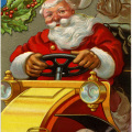 vintage postcard printable, jolly santa illustration, vintage Christmas card, santa driving car clipart, antique Christmas postcard graphic