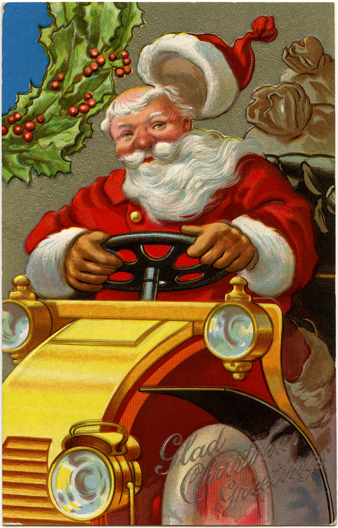 vintage postcard printable, jolly santa illustration, vintage Christmas card, santa driving car clipart, antique Christmas postcard graphic