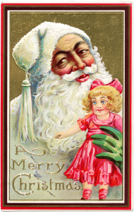 Santa doll postcard 1911, vintage Christmas clip art, antique santa illustration, santa in white clipart, santa claus holding doll graphics