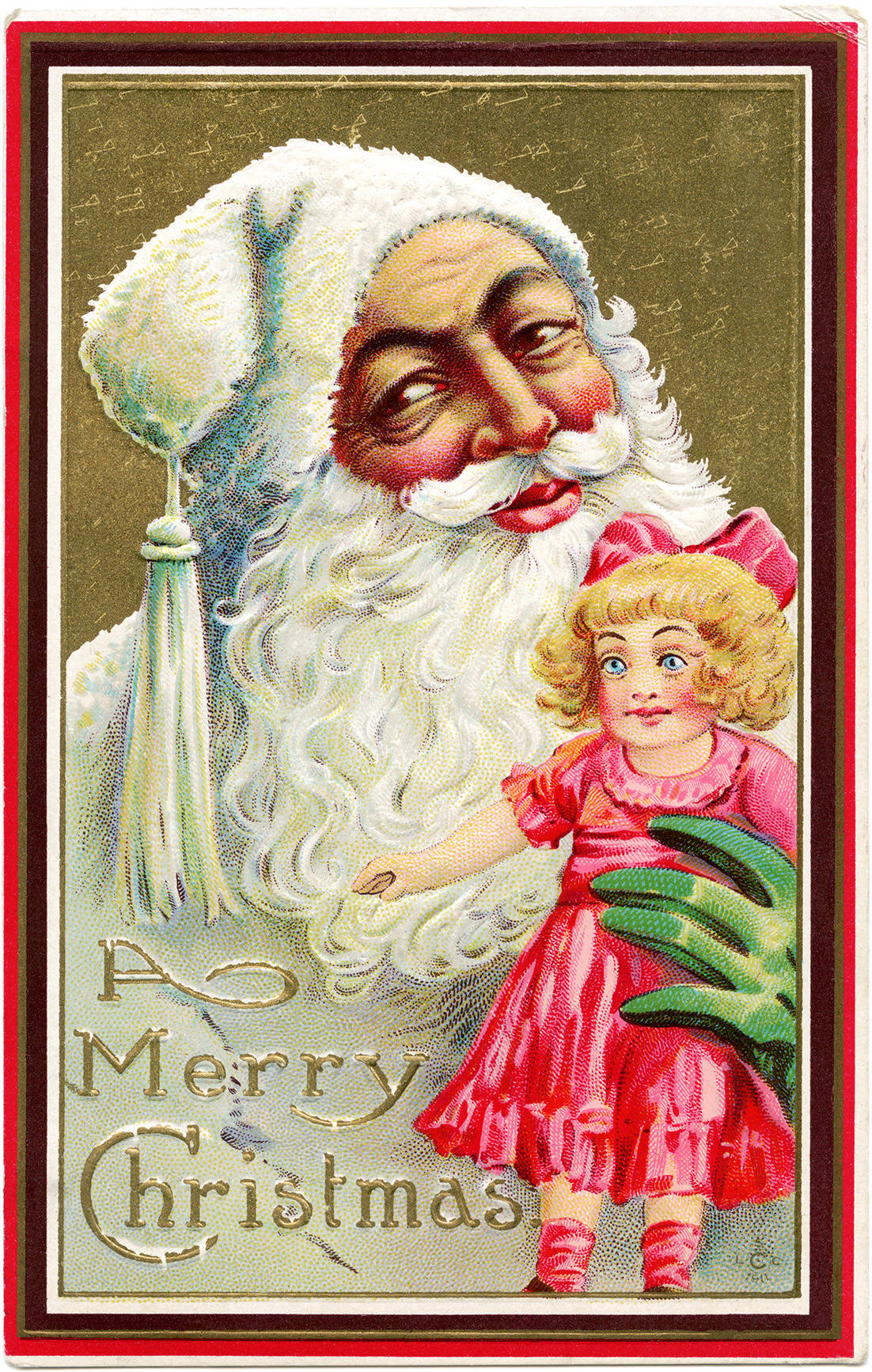 Santa doll postcard 1911, vintage Christmas clip art, antique santa illustration, santa in white clipart, santa claus holding doll graphics