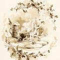 Christmas feast illustration,shabby vintage storybook image,alice wheaton adams art,Christmas dinner clip art, plum pudding mince pie graphics