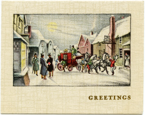 Victorian Christmas card, vintage holiday card, horse carriage illustration, antique winter clipart, Victorian town graphics