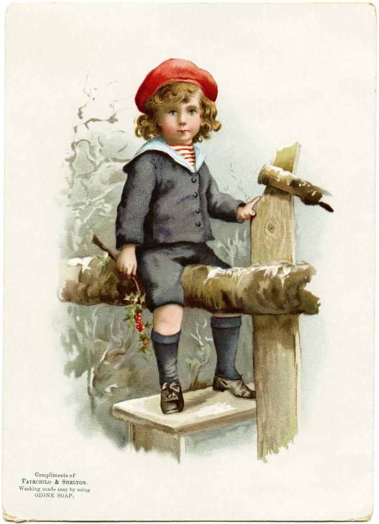 Victorian Boy On Fence Free Graphic Old Design Shop Blog