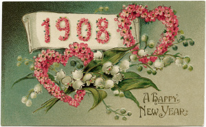 Victorian New Year postcard, vintage floral clip art, old fashioned New Years card, pink floral heart illustration, vintage flower postcard graphic