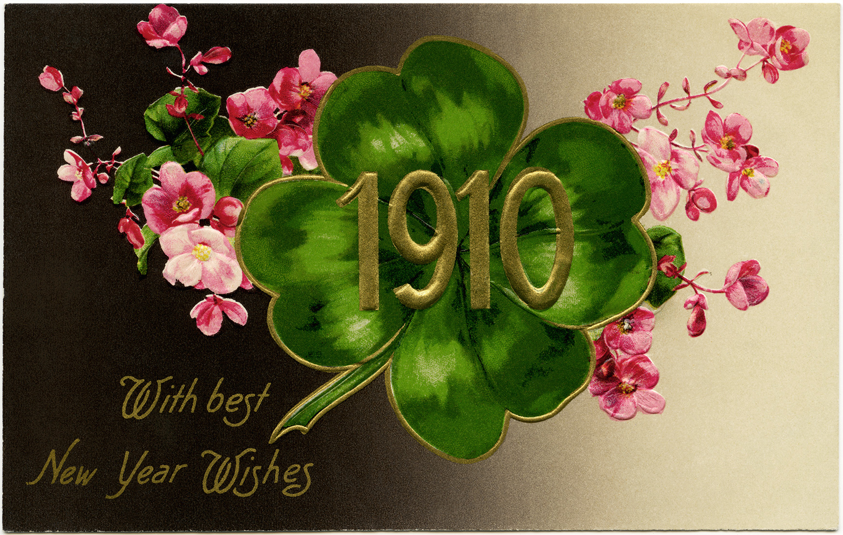 1910 new year postcard illustration