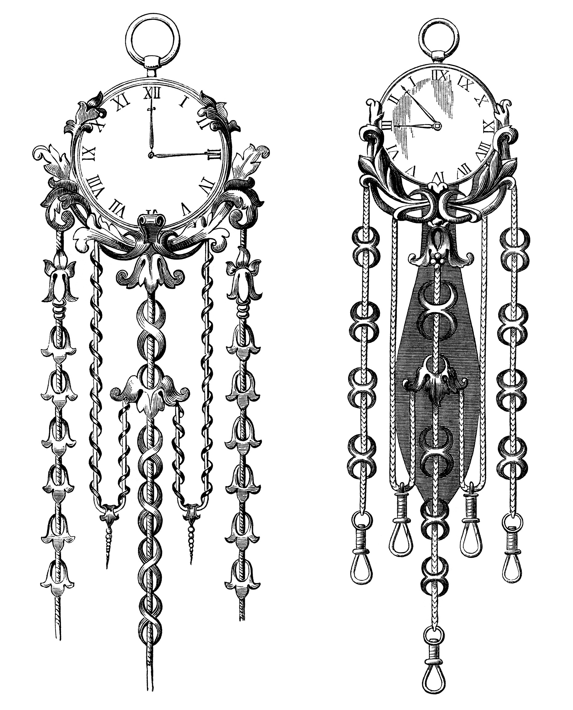 Victorian clock illustration, vintage clock clip art, black and white graphics free, old fashioned clock, antique clock engraving