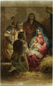 Mary baby Jesus, Victorian Christmas clip art, vintage christmas postcard, religious Christmas card, vintage Christian postcard