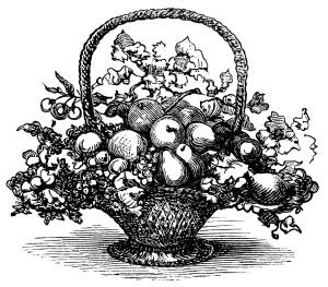 basket of fruit clip art, black and white clipart, vintage food printable, victorian basket engraving, basket of flowers illustration