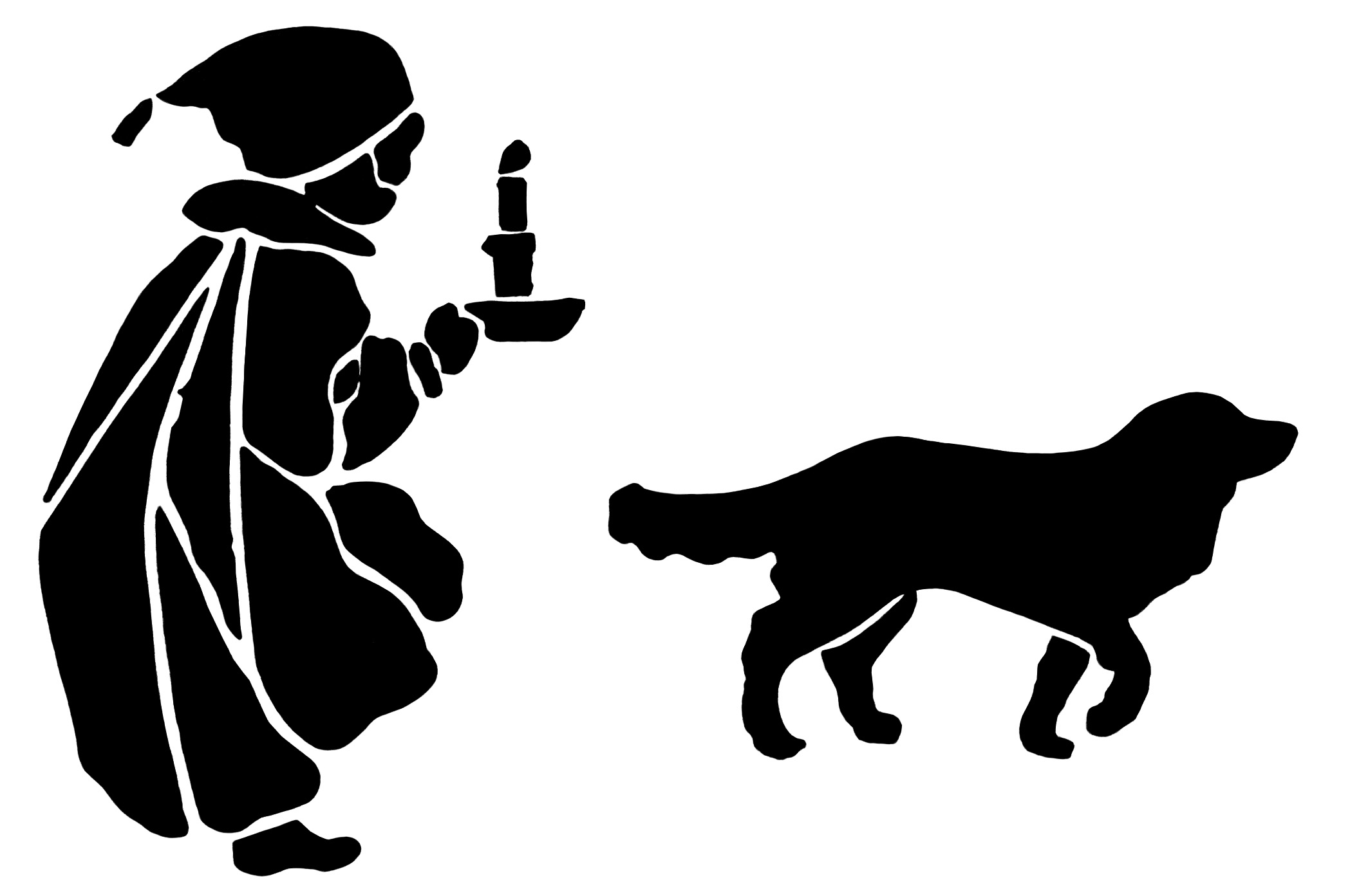 Victorian boy nightgown and cap, boy dog silhouette, black and white graphics, child and dog illustration, vintage boy clip art
