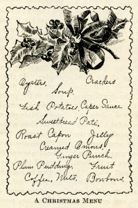 vintage Christmas menu, holly berries clip art, black and white graphics, old fashioned party food, antique holiday menu