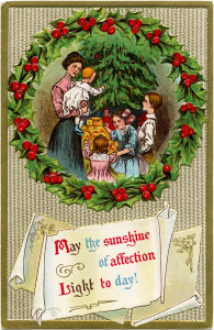 Victorian Christmas clip art, vintage christmas postcard, old fashioned Christmas card, family around Christmas tree, holly berries wreath illustration