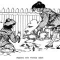 vintage bird clip art, black and white clipart, feeding birds illustration, free vintage bird graphics, Victorian girls printable