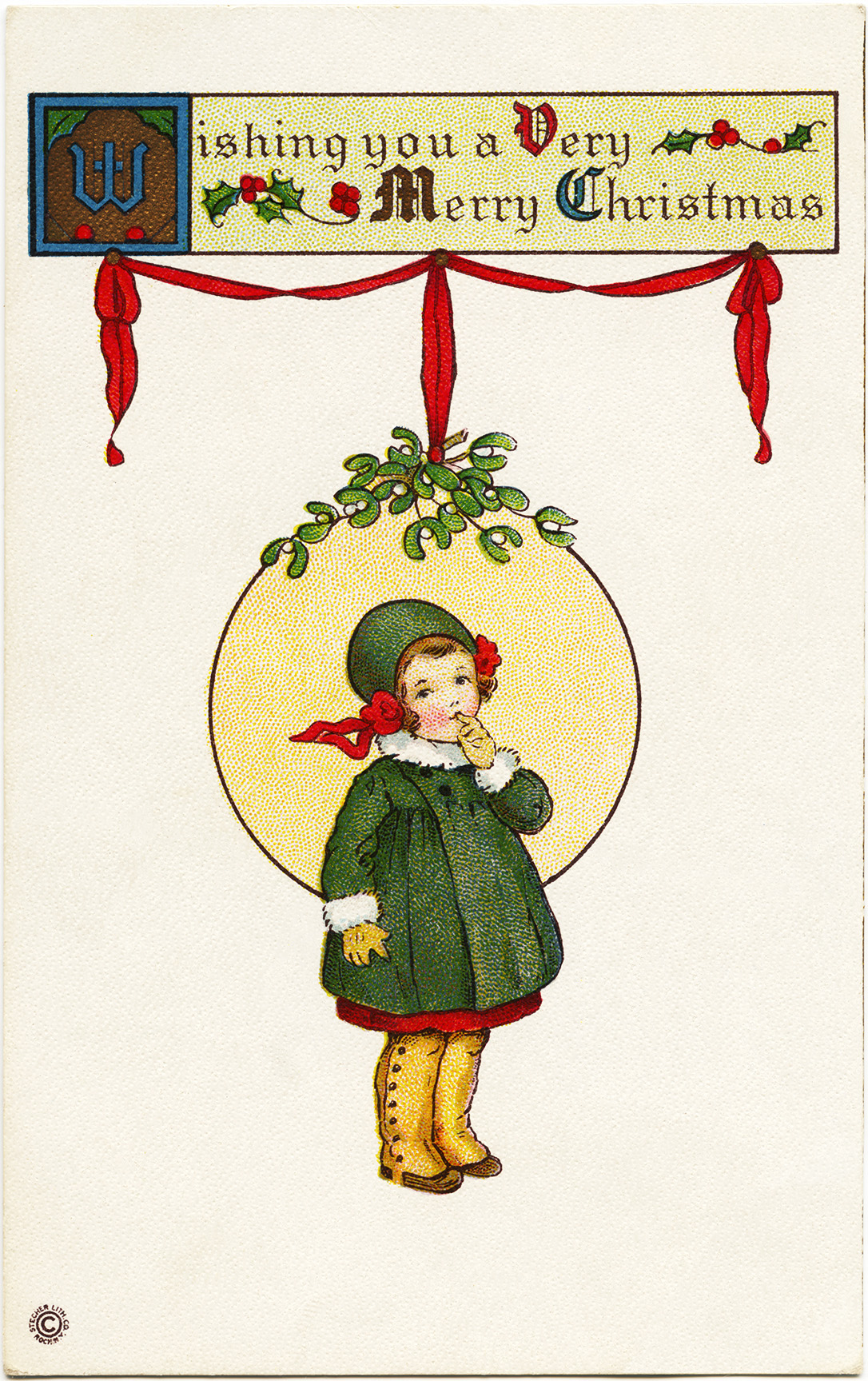 Stecher Christmas postcard, public domain Christmas image, Victorian girl clip art, printable Christmas illustration, old fashioned Christmas card