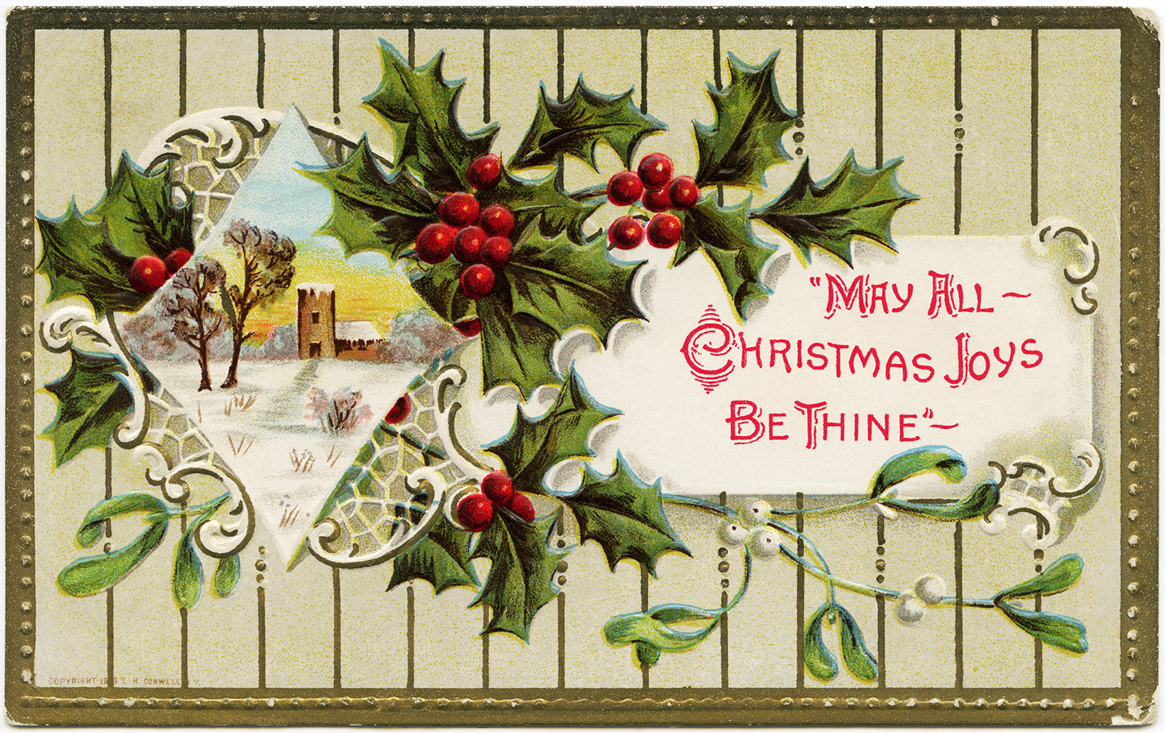 Holly berries christmas postcard old design shop blog vintage christmas postcard holly berries mistletoe graphics printable christmas illustration old fashioned christmas kristyandbryce Image collections
