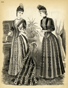Victorian lady graphics, black and white clip art, Victorian fashion image, ladies visiting toilette, vintage fashion illustration