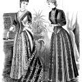 Victorian lady graphics, black and white clip art, Victorian fashion image, ladies visiting toilette, vintage fashion illustration