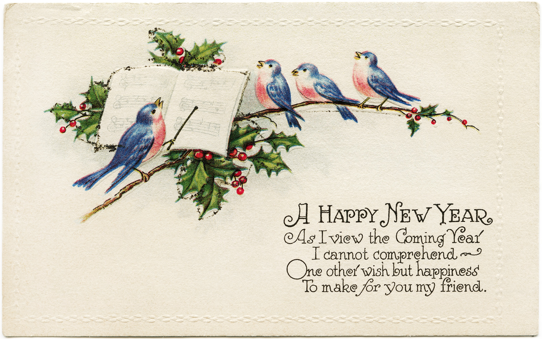blue pink birds illustration, vintage new year postcard, singing birds clip art, holly berries bird illustration, music conductor bird graphics