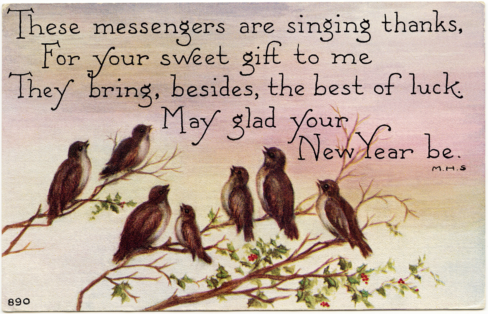 brown birds illustration, vintage new year postcard, singing birds clip art, holly berries bird illustration, vintage bird graphics