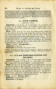 plum pudding recipe, old book paper, shabby cookbook page, junk journal printable, vintage Christmas food